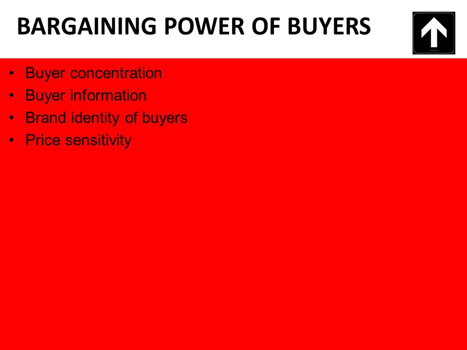 Buyer concentration Buyer information Brand identity of buyers Price sensitivity