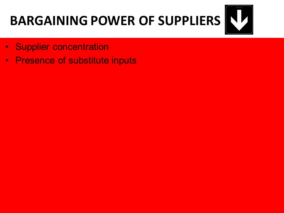 Supplier concentration Presence of substitute inputs