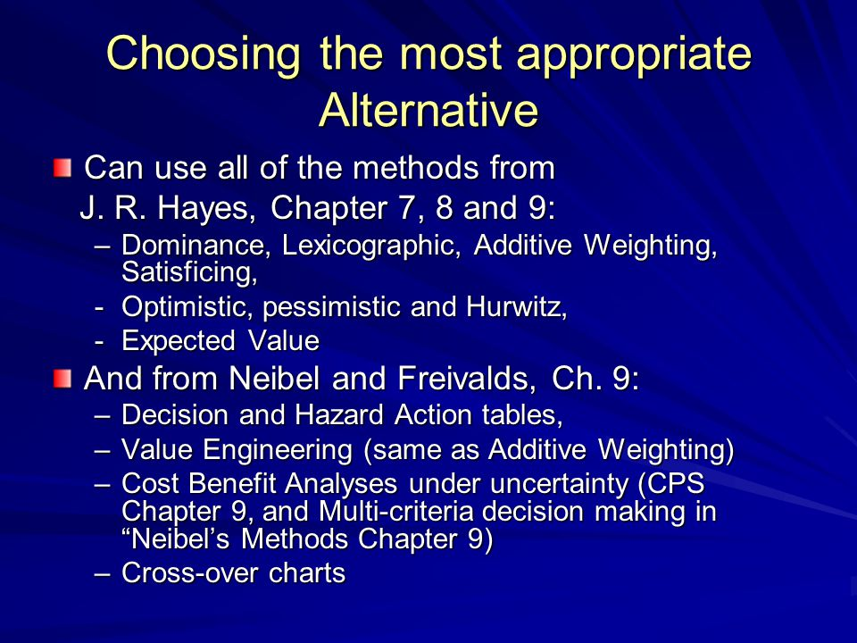 Choosing the most appropriate Alternative Can use all of the methods from J. R. Hayes, Chapter 7, 8 and 9: J. R. Hayes, Chapter 7, 8 and 9: –Dominance