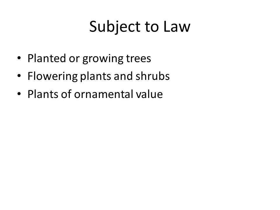 Subject to Law Planted or growing trees Flowering plants and shrubs Plants of ornamental value