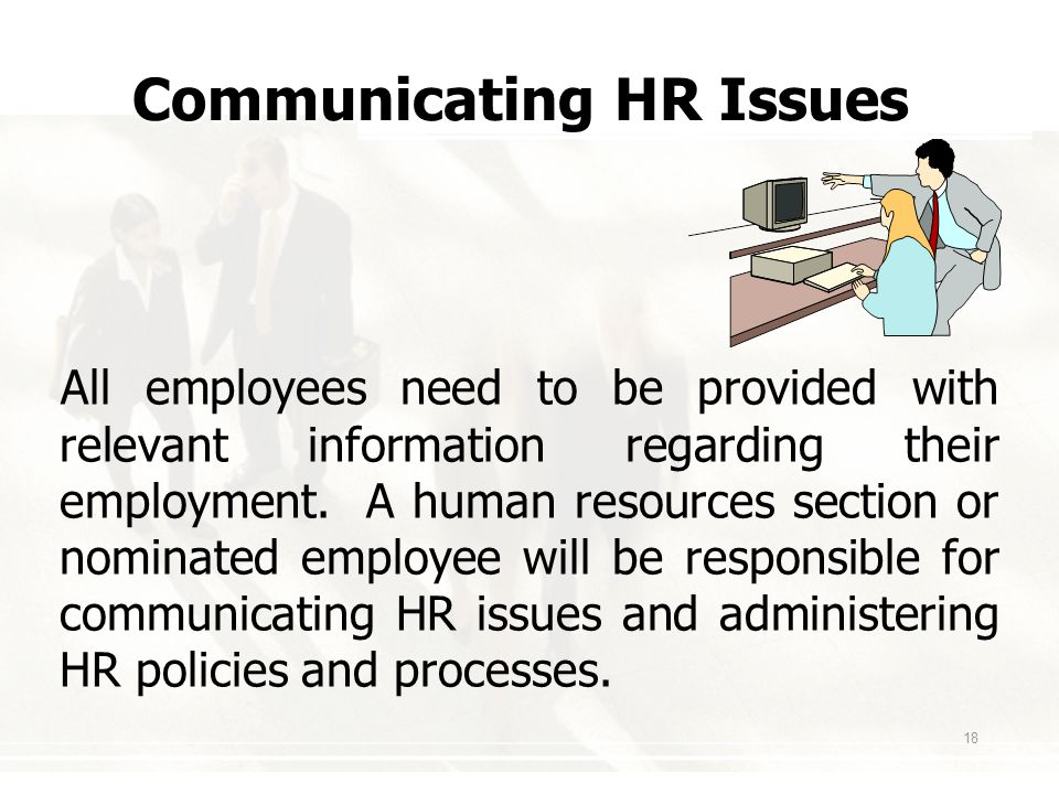 18 Communicating HR Issues All employees need to be provided with relevant information regarding their employment.