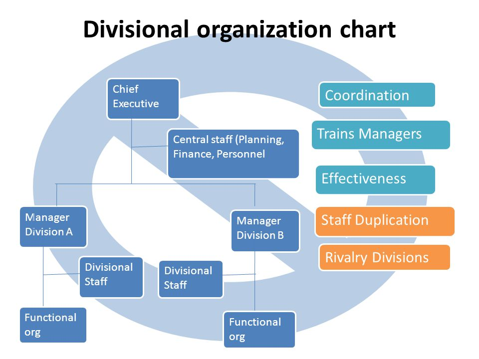 Divisional organization chart Manager Division B Divisional Staff Manager Division A Divisional Staff Functional org Chief Executive Central staff (Planning, Finance, Personnel Staff Duplication Rivalry Divisions Trains Managers Effectiveness Coordination