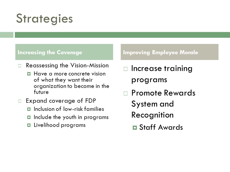 Strategies Increasing the Coverage  Reassessing the Vision-Mission  Have a more concrete vision of what they want their organization to become in the future  Expand coverage of FDP  Inclusion of low-risk families  Include the youth in programs  Livelihood programs Improving Employee Morale  Increase training programs  Promote Rewards System and Recognition  Staff Awards