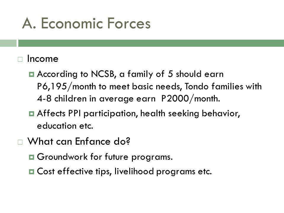 A. Economic Forces  Income  According to NCSB, a family of 5 should earn P6,195/month to meet basic needs, Tondo families with 4-8 children in avera
