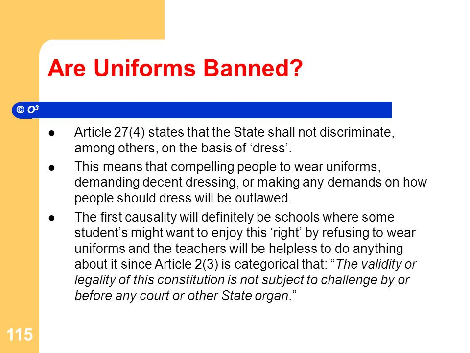Are Uniforms Banned.