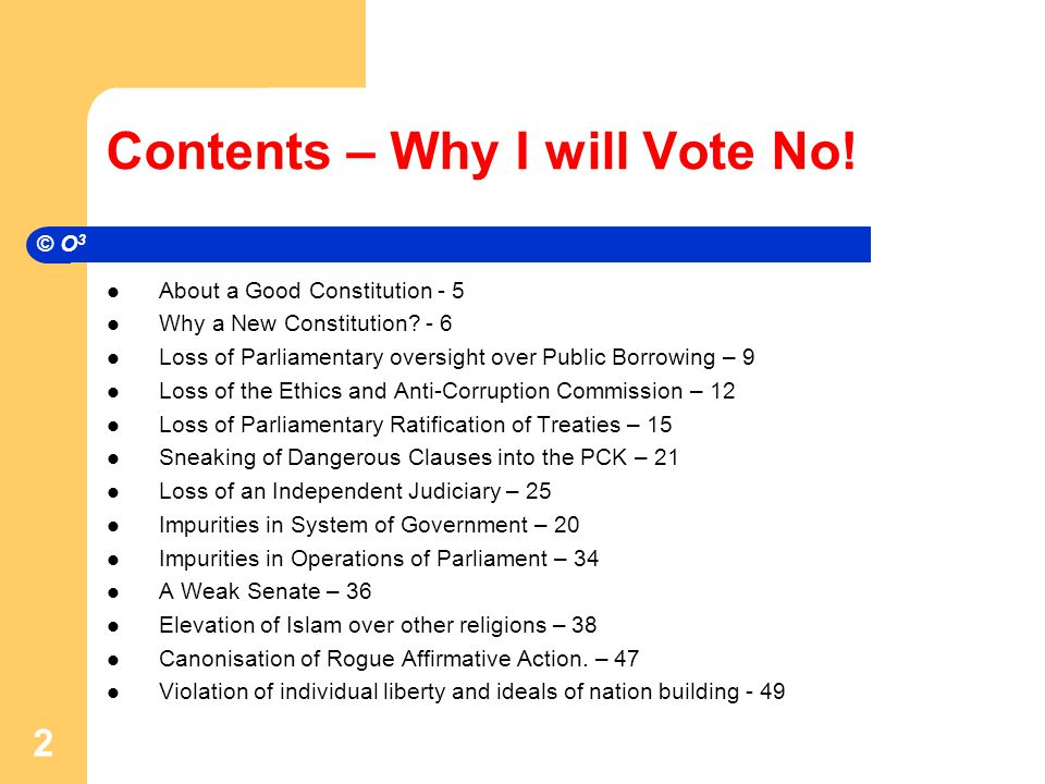 Contents – Why I will Vote No.