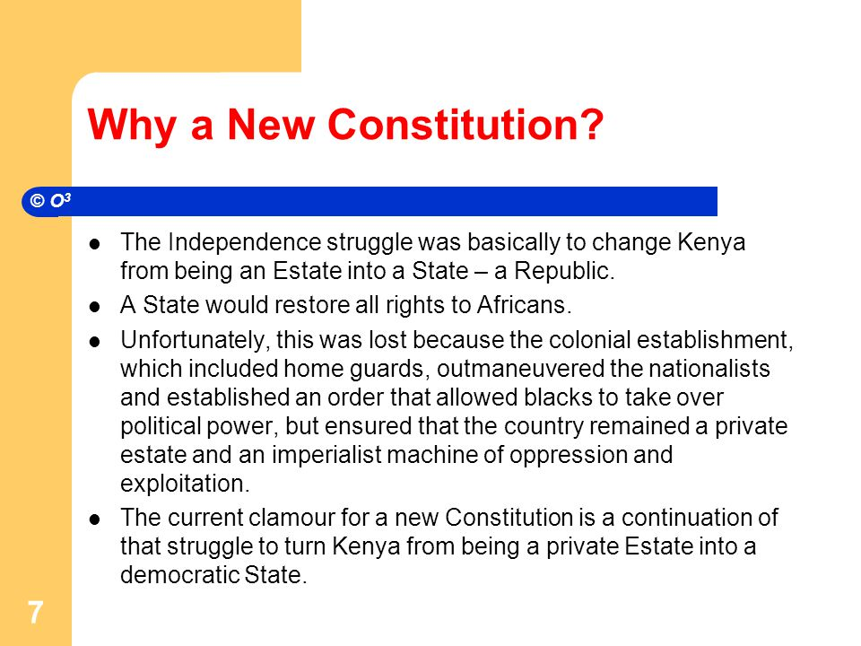 Why a New Constitution.
