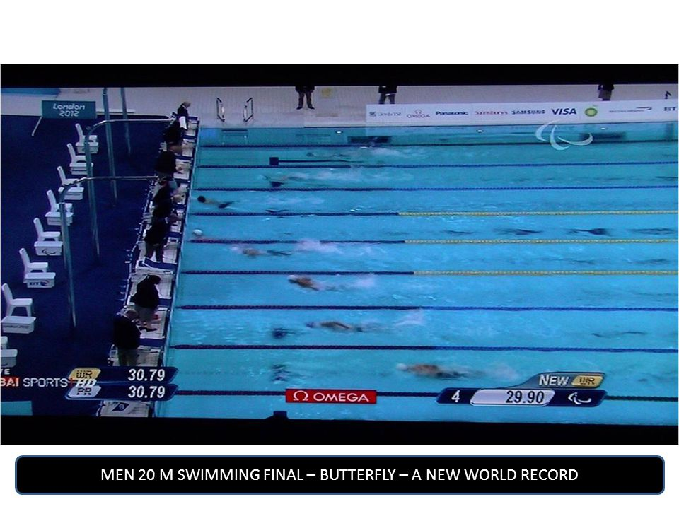 MEN 20 M SWIMMING FINAL – BUTTERFLY – A NEW WORLD RECORD