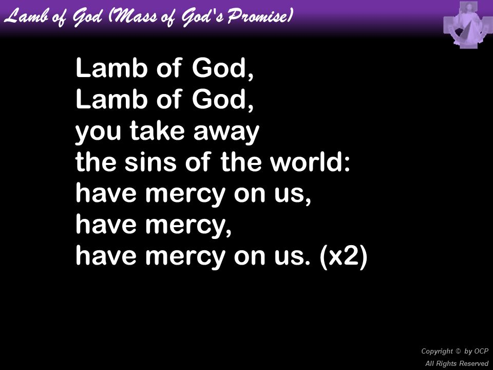 Lamb of God (Mass of God's Promise) Lamb of God, you take away the sins of the world: have mercy on us, have mercy, have mercy on us. (x2) Copyright ©
