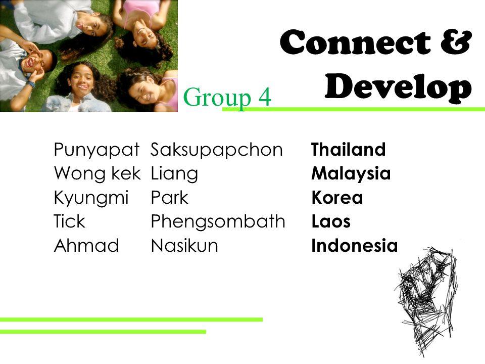 Connect & Develop Punyapat Saksupapchon Thailand Wong kek Liang Malaysia Kyungmi Park Korea Tick Phengsombath Laos Ahmad Nasikun Indonesia Group 4