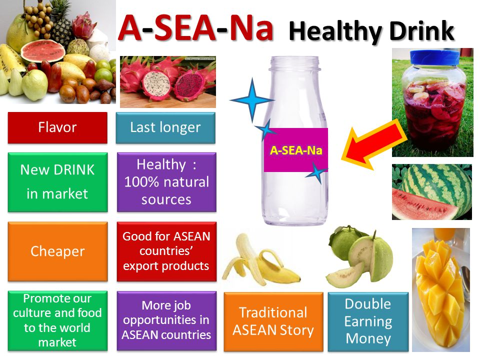 New DRINK in market Healthy : 100% natural sources Cheaper Good for ASEAN countries' export products Promote our culture and food to the world market More job opportunities in ASEAN countries A-SEA-Na Healthy Drink Traditional ASEAN Story Double Earning Money FlavorLast longer