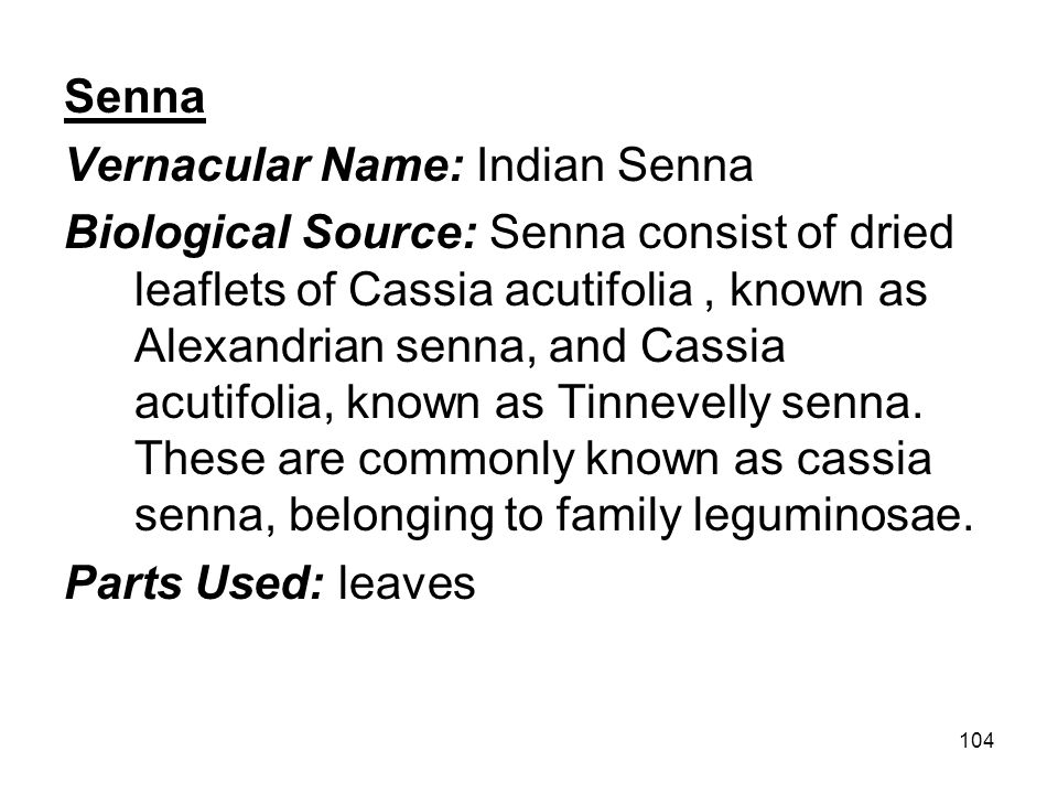 104 Senna Vernacular Name: Indian Senna Biological Source: Senna consist of dried leaflets of Cassia acutifolia, known as Alexandrian senna, and Cassi