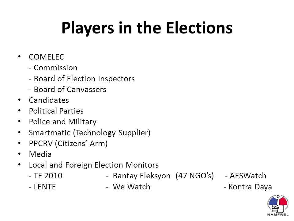 Players in the Elections COMELEC - Commission - Board of Election Inspectors - Board of Canvassers Candidates Political Parties Police and Military Smartmatic (Technology Supplier) PPCRV (Citizens' Arm) Media Local and Foreign Election Monitors - TF 2010- Bantay Eleksyon (47 NGO's) - AESWatch - LENTE- We Watch- Kontra Daya