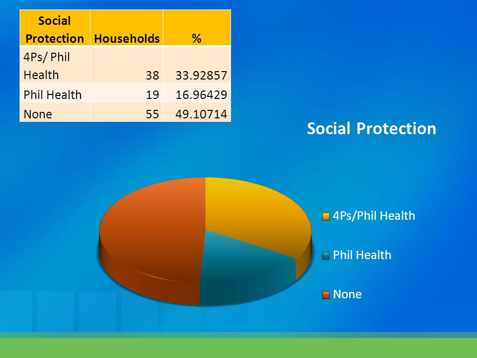 Social ProtectionHouseholds% 4Ps/ Phil Health3833.92857 Phil Health1916.96429 None5549.10714