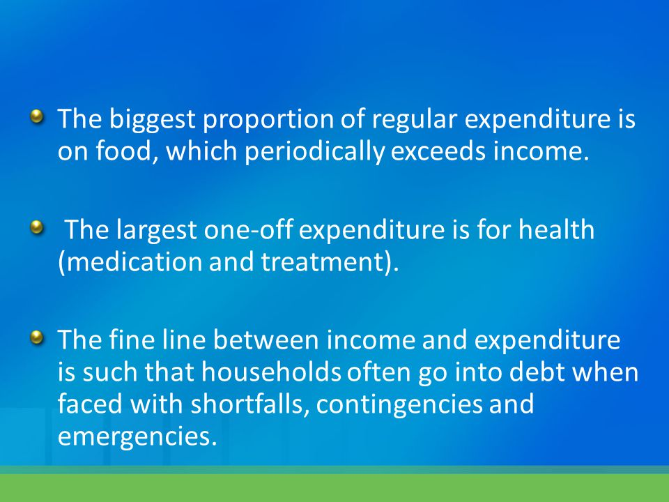 The biggest proportion of regular expenditure is on food, which periodically exceeds income.