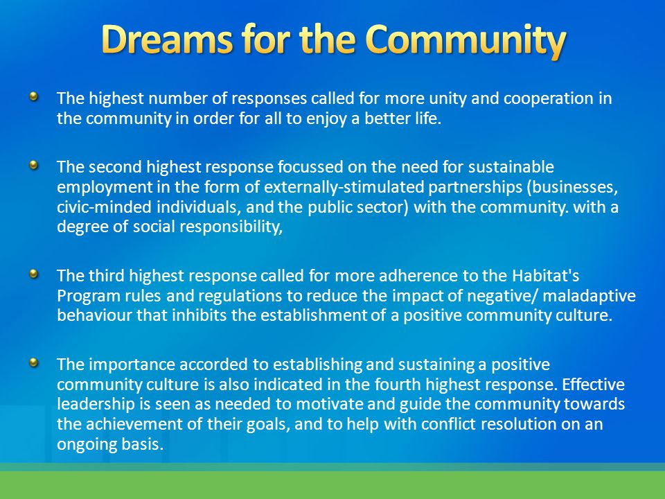 The highest number of responses called for more unity and cooperation in the community in order for all to enjoy a better life.
