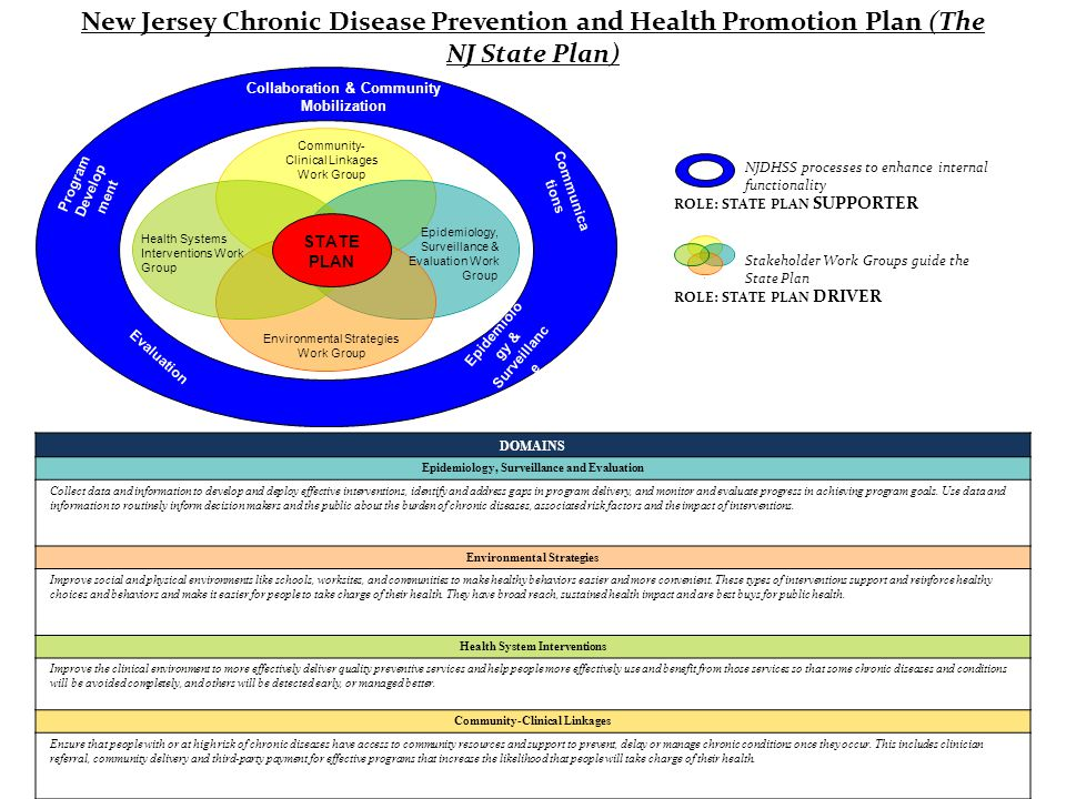 Epidemiolo gy & Surveillanc e Collaboration & Community Mobilization Communica tions Program Develop ment Evaluation - x - - Community- Clinical Linkages Work Group Epidemiology, Surveillance & Evaluation Work Group Environmental Strategies Work Group Health Systems Interventions Work Group STATE PLAN NJDHSS processes to enhance internal functionality x x x x Stakeholder Work Groups guide the State Plan New Jersey Chronic Disease Prevention and Health Promotion Plan (The NJ State Plan) ROLE: STATE PLAN SUPPORTER ROLE: STATE PLAN DRIVER DOMAINS Epidemiology, Surveillance and Evaluation Collect data and information to develop and deploy effective interventions, identify and address gaps in program delivery, and monitor and evaluate progress in achieving program goals.