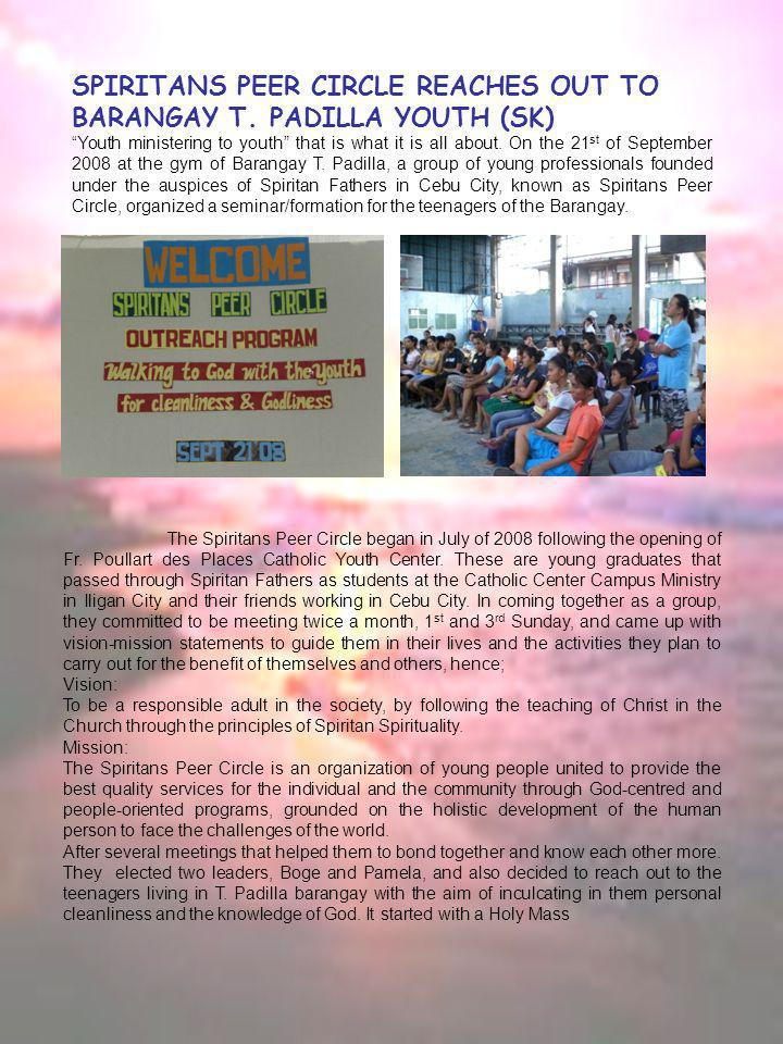 SPIRITANS PEER CIRCLE REACHES OUT TO BARANGAY T.