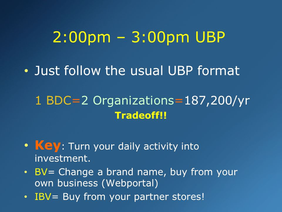 Just follow the usual UBP format 1 BDC=2 Organizations=187,200/yr Tradeoff!! Key : Turn your daily activity into investment. BV= Change a brand name,