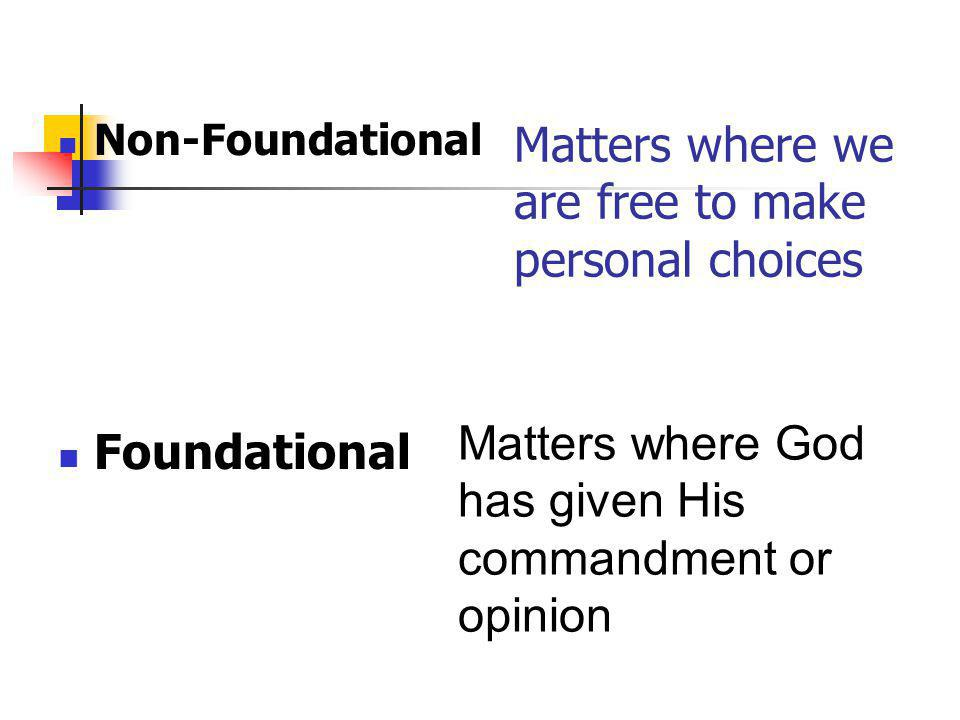 Matters where we are free to make personal choices Non-Foundational Foundational Matters where God has given His commandment or opinion