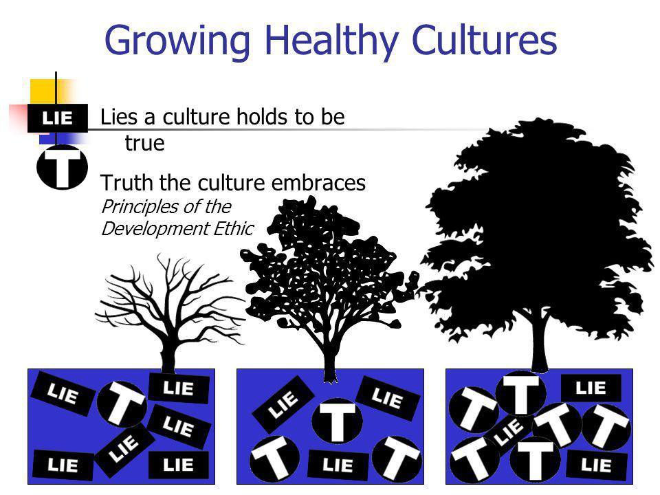 Growing Healthy Cultures Lies a culture holds to be true Truth the culture embraces Principles of the Development Ethic