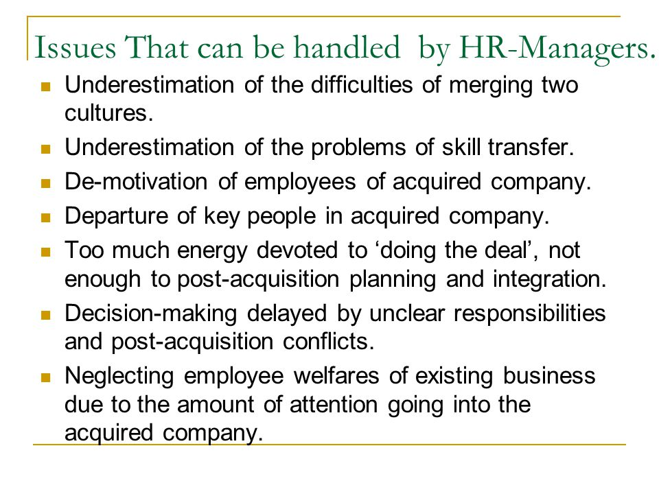 Issues That can be handled by HR-Managers.