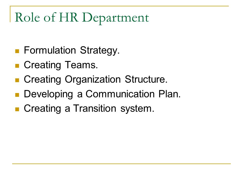 Role of HR Department Formulation Strategy.Creating Teams.
