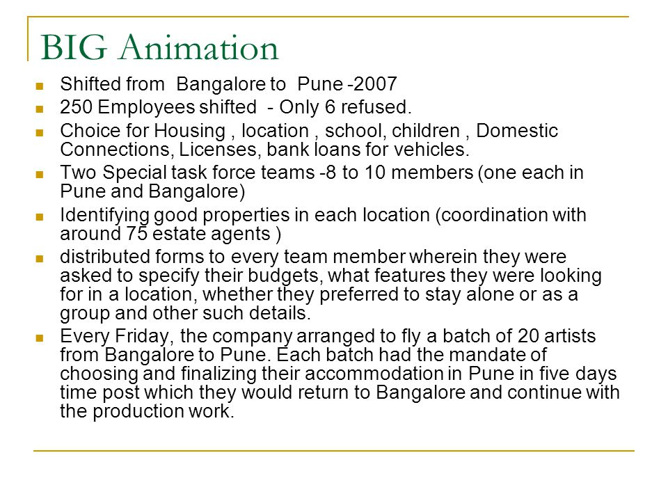 BIG Animation Shifted from Bangalore to Pune -2007 250 Employees shifted - Only 6 refused.