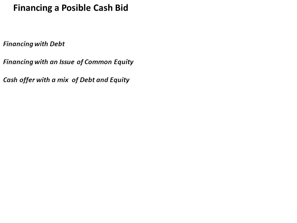 Financing a Posible Cash Bid Financing with Debt Financing with an Issue of Common Equity Cash offer with a mix of Debt and Equity