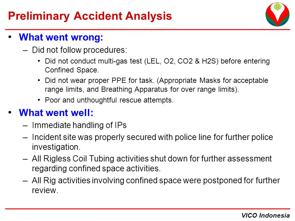 VICO Indonesia Preliminary Accident Analysis What went wrong: – Did not follow procedures: Did not conduct multi-gas test (LEL, O2, CO2 & H2S) before entering Confined Space.