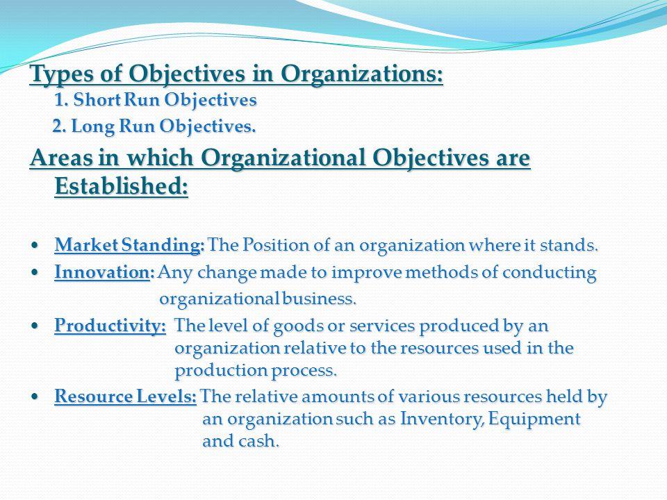 Types of Objectives in Organizations: 1. Short Run Objectives 2. Long Run Objectives. 2. Long Run Objectives. Areas in which Organizational Objectives