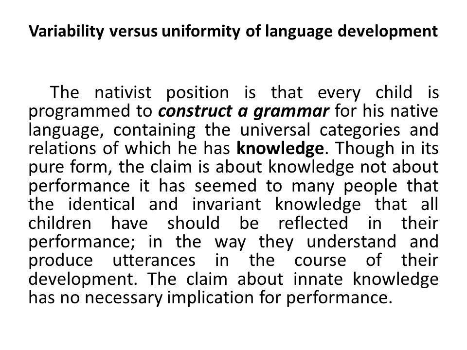 Learner language The language produced by l2 learners did not conform to the target language, the (errors) that learners made were not random, but reflected a systematic, knowledge of the l2.