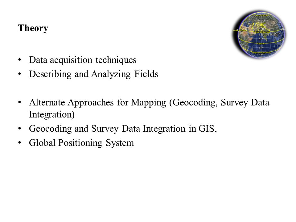 Theory Data acquisition techniques Describing and Analyzing Fields Alternate Approaches for Mapping (Geocoding, Survey Data Integration) Geocoding and Survey Data Integration in GIS, Global Positioning System