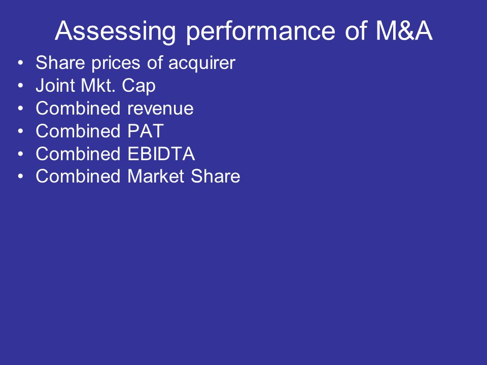 Assessing performance of M&A Share prices of acquirer Joint Mkt. Cap Combined revenue Combined PAT Combined EBIDTA Combined Market Share