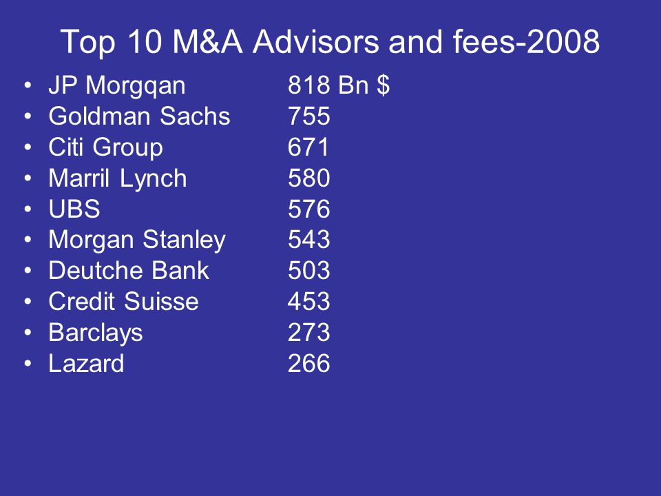 Top 10 M&A Advisors and fees-2008 JP Morgqan818 Bn $ Goldman Sachs 755 Citi Group 671 Marril Lynch 580 UBS 576 Morgan Stanley 543 Deutche Bank503 Cred
