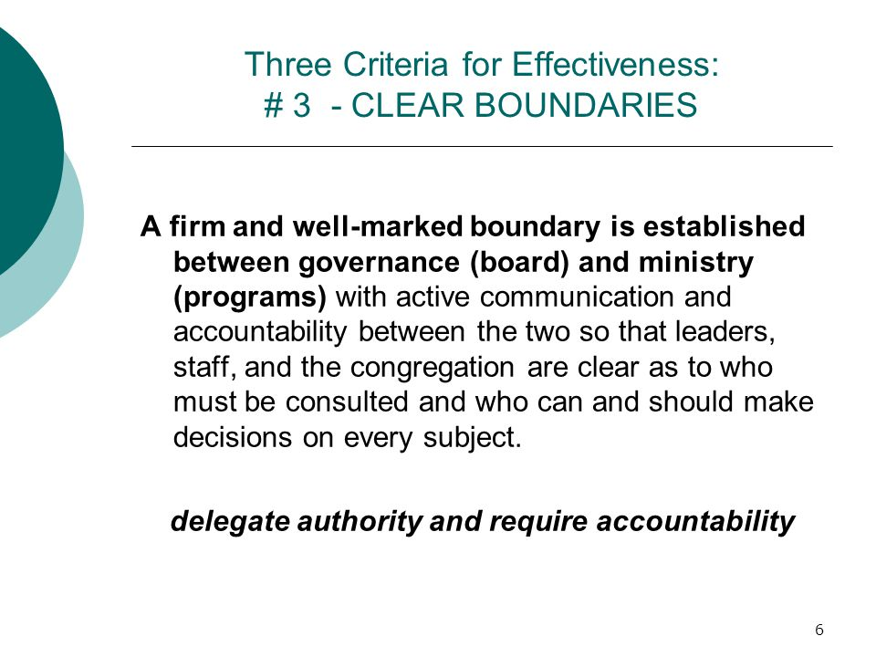 Three Criteria for Effectiveness: # 3 - CLEAR BOUNDARIES A firm and well-marked boundary is established between governance (board) and ministry (progr