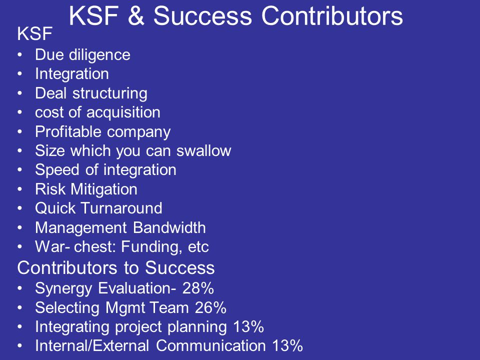Some Key aspects Takeover-Acquisition, In-Out-CB acquisition Deal Phases– Pre-During and Post Deal Structuring- SPV, Subsidiary, Holding company, Takeover, Reverse Merger Deal Funding- LBO, Debt funding, Deferred Payout, Equity Swap Merger Motives/Drivers Good will/IP Valuation- Price, Brand, IP, Talent Due diligence scope-Mkt., Product, Legal, IT, Environment, HR, Taxes, Goodwill, IP Legal and Tax regulations Risk Synergy assessment (Economic, Buying power, Operations,Financial) Integration- HR/Cultural/Legal/Environment Degree of relatedness and speed of integration