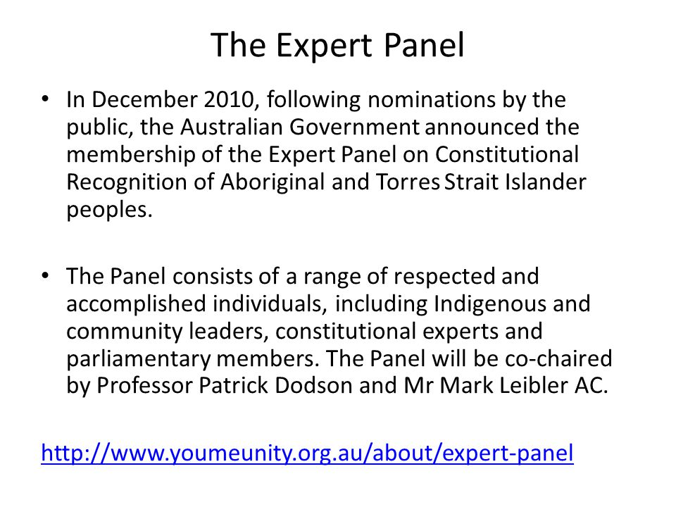 The Expert Panel In December 2010, following nominations by the public, the Australian Government announced the membership of the Expert Panel on Cons