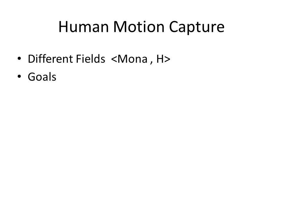 Human Motion Capture Different Fields Goals