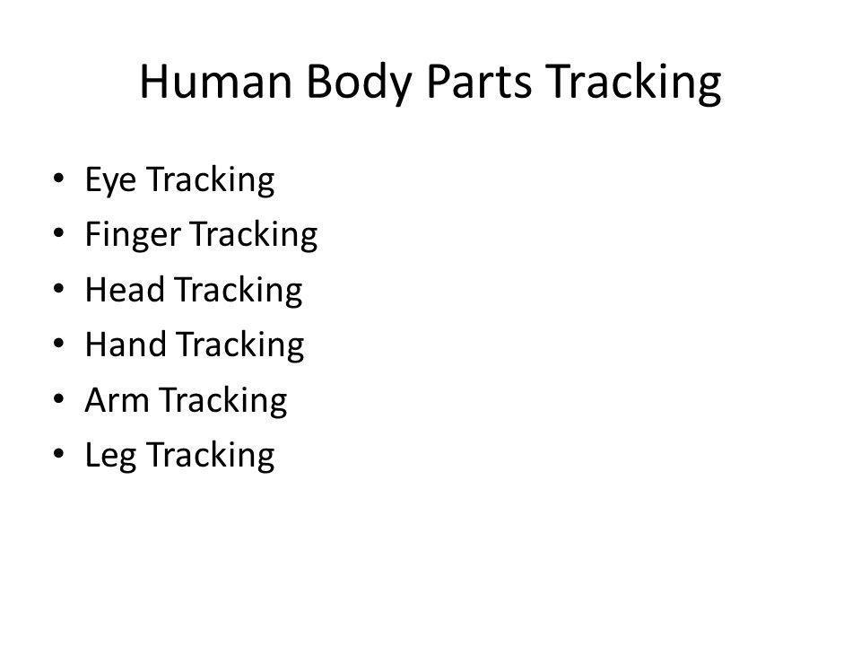 Human Body Parts Tracking Eye Tracking Finger Tracking Head Tracking Hand Tracking Arm Tracking Leg Tracking