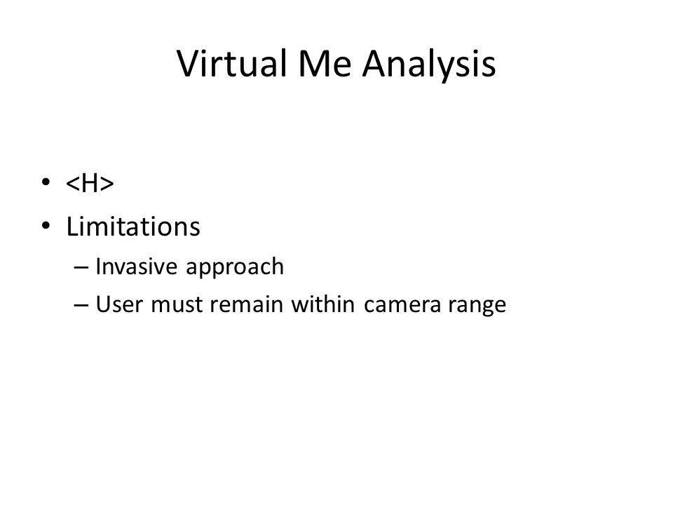 Virtual Me Analysis Limitations – Invasive approach – User must remain within camera range