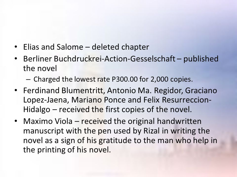 Elias and Salome – deleted chapter Berliner Buchdruckrei-Action-Gesselschaft – published the novel – Charged the lowest rate P300.00 for 2,000 copies.