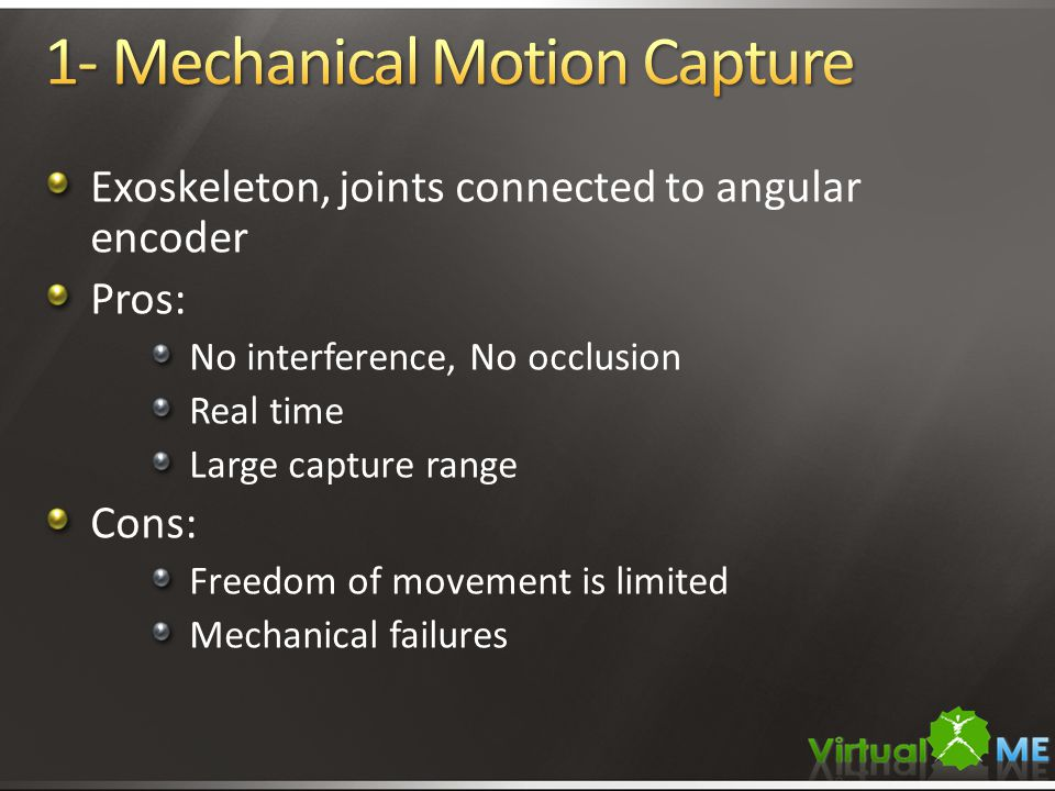 Exoskeleton, joints connected to angular encoder Pros: No interference, No occlusion Real time Large capture range Cons: Freedom of movement is limited Mechanical failures