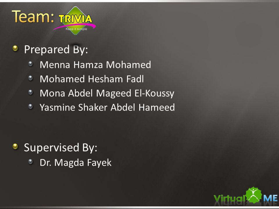 Prepared By: Menna Hamza Mohamed Mohamed Hesham Fadl Mona Abdel Mageed El-Koussy Yasmine Shaker Abdel Hameed Supervised By: Dr.
