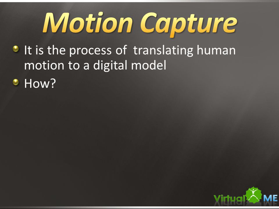 It is the process of translating human motion to a digital model How?