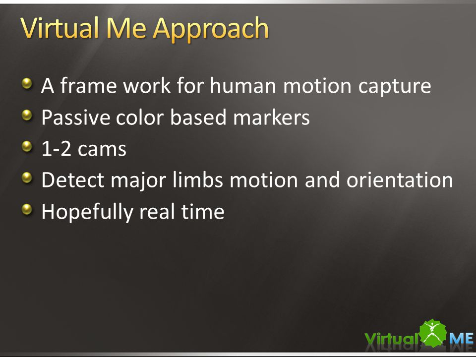 A frame work for human motion capture Passive color based markers 1-2 cams Detect major limbs motion and orientation Hopefully real time