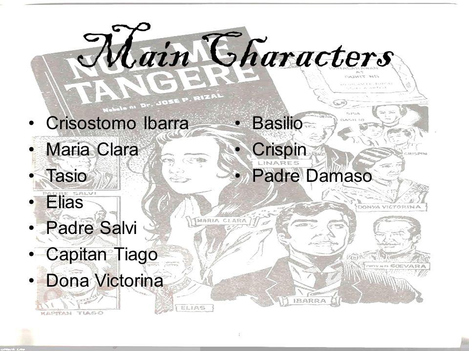 Main Characters Crisostomo Ibarra Maria Clara Tasio Elias Padre Salvi Capitan Tiago Dona Victorina Basilio Crispin Padre Damaso