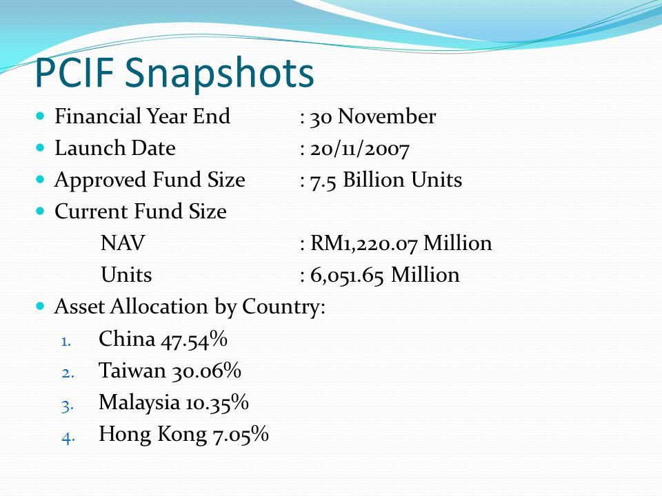 PCIF Snapshots Financial Year End: 30 November Launch Date: 20/11/2007 Approved Fund Size: 7.5 Billion Units Current Fund Size NAV: RM1,220.07 Million Units: 6,051.65 Million Asset Allocation by Country: 1.