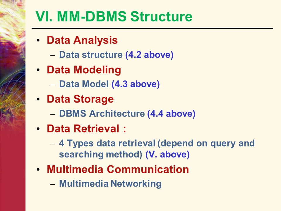 VI. MM-DBMS Structure Data Analysis – Data structure (4.2 above) Data Modeling – Data Model (4.3 above) Data Storage – DBMS Architecture (4.4 above) D