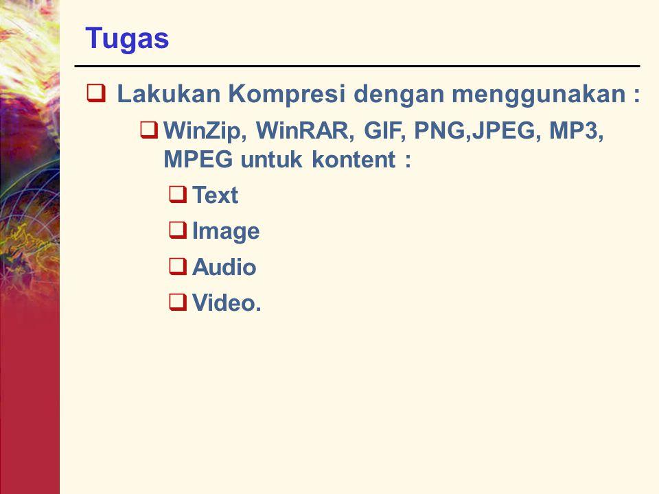 Tugas  Lakukan Kompresi dengan menggunakan :  WinZip, WinRAR, GIF, PNG,JPEG, MP3, MPEG untuk kontent :  Text  Image  Audio  Video.